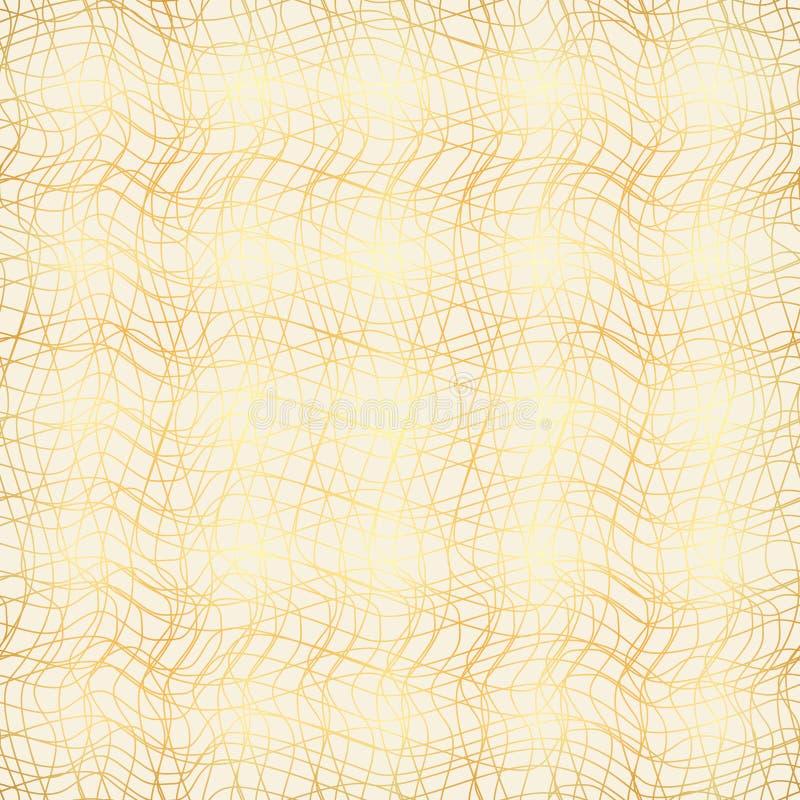 Impianto a scacchiera delle linee curve, caos, fondo senza cuciture dell'oro illustrazione vettoriale