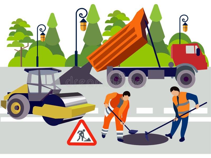 Impiegati dei lavori stradali Attrezzature e materiali per la riparazione Nello stile minimalista Vettore isometrico piano royalty illustrazione gratis