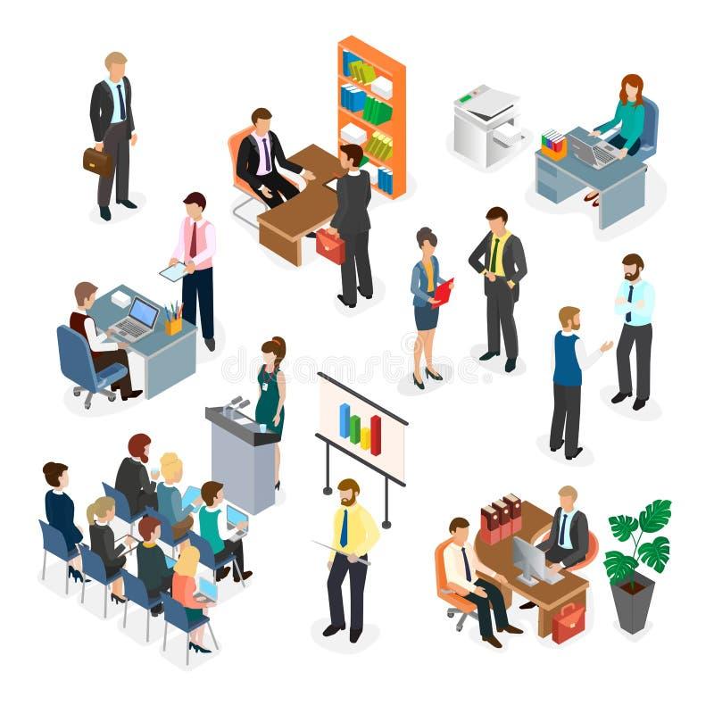 Impiegati di concetto dello spazio di Coworking durante il processo del lavoro illustrazione vettoriale