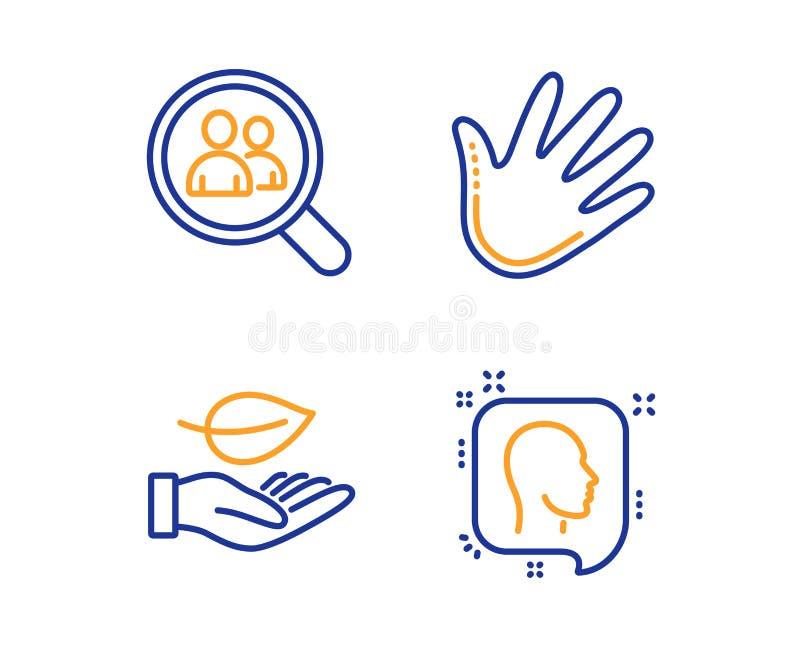 Impiegati di ricerca, della foglia ed insieme delle icone della mano Segno capo Cura della pianta, analisi del personale, colpo M royalty illustrazione gratis