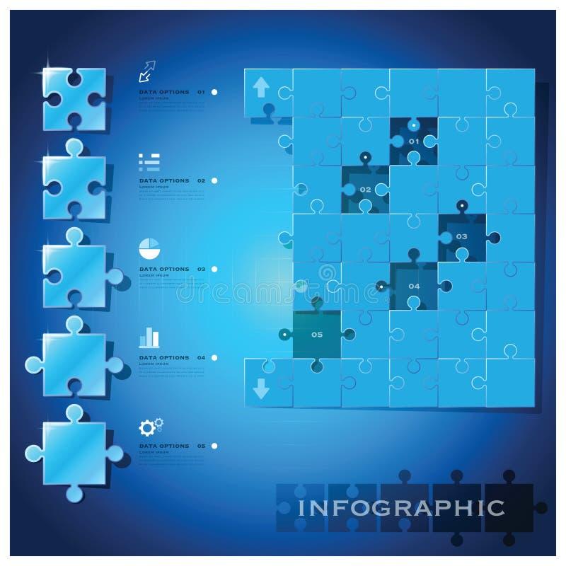 Impiegati moderni di progettazione del fondo di Infographic di affari del puzzle illustrazione di stock