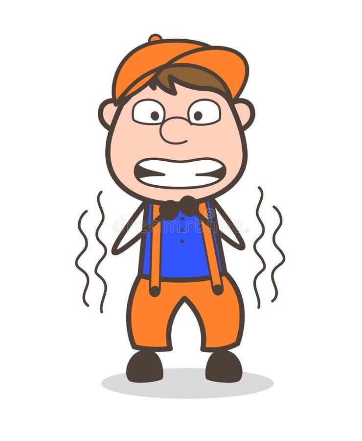 Impiegato del fumetto che trema nell'illustrazione di vettore di timore illustrazione vettoriale