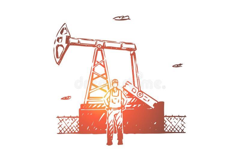 Impiegato della raffineria di petrolio, affare estraente delle risorse, lavoratore industriale di manutenzione dell'attrezzatura, illustrazione vettoriale