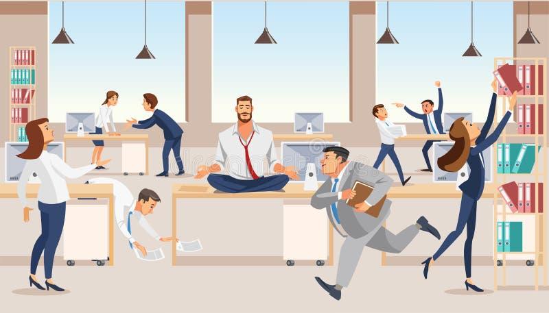 Impiegato di concetto che medita al vettore del posto di lavoro illustrazione vettoriale