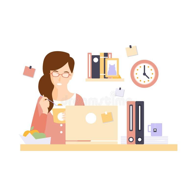 Impiegato di concetto della donna che mangia pranzo nel cubicolo dell'ufficio che ha suo personaggio dei cartoni animati sistemat illustrazione di stock