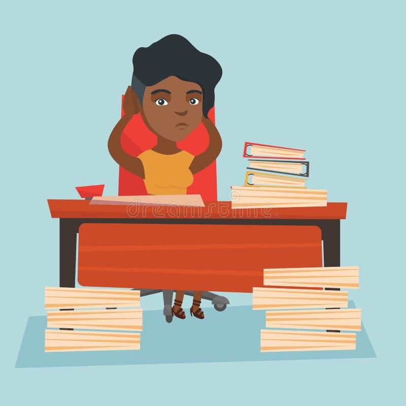 Impiegato di concetto di disperazione che si siede nel luogo di lavoro royalty illustrazione gratis