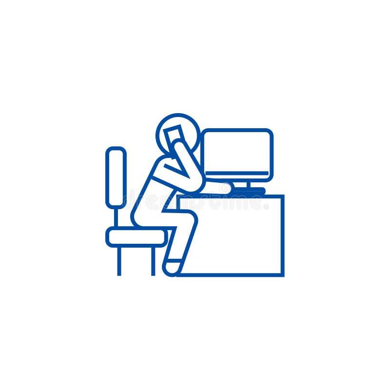 Impiegato di ufficio che chiama nella linea concetto dell'ufficio dell'icona Impiegato di ufficio che chiama nel simbolo piano di royalty illustrazione gratis