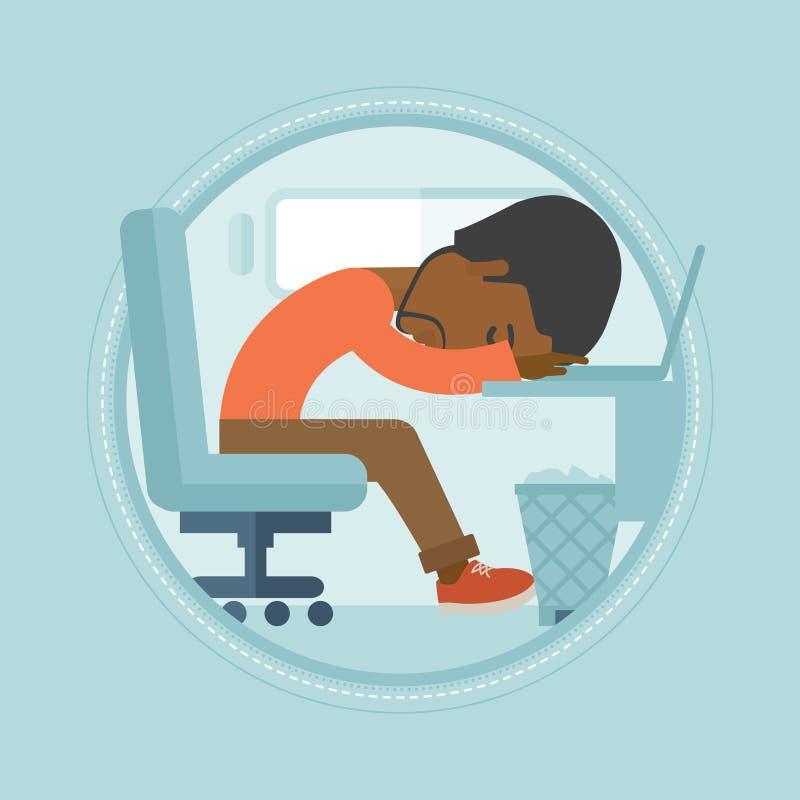 Impiegato sovraccarico che dorme nel luogo di lavoro illustrazione di stock