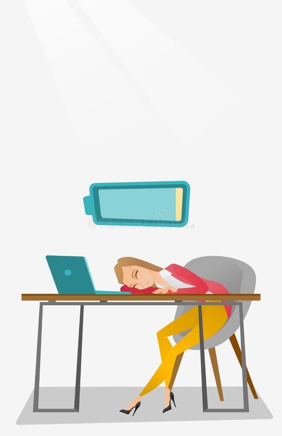 Impiegato stanco che dorme nel luogo di lavoro illustrazione vettoriale