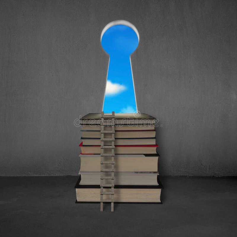 Impili i libri con la scala di legno, la porta chiave di forma ed il cielo blu royalty illustrazione gratis