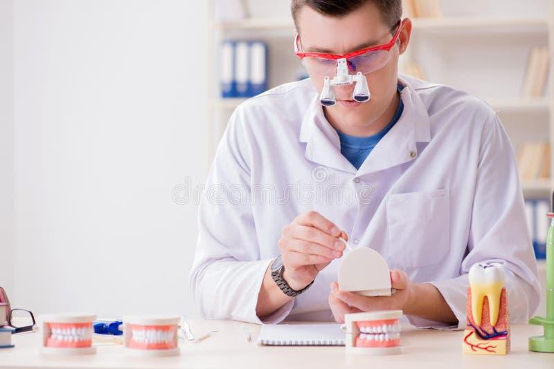 Implant зубов дантиста работая в медицинской лаборатории стоковые изображения
