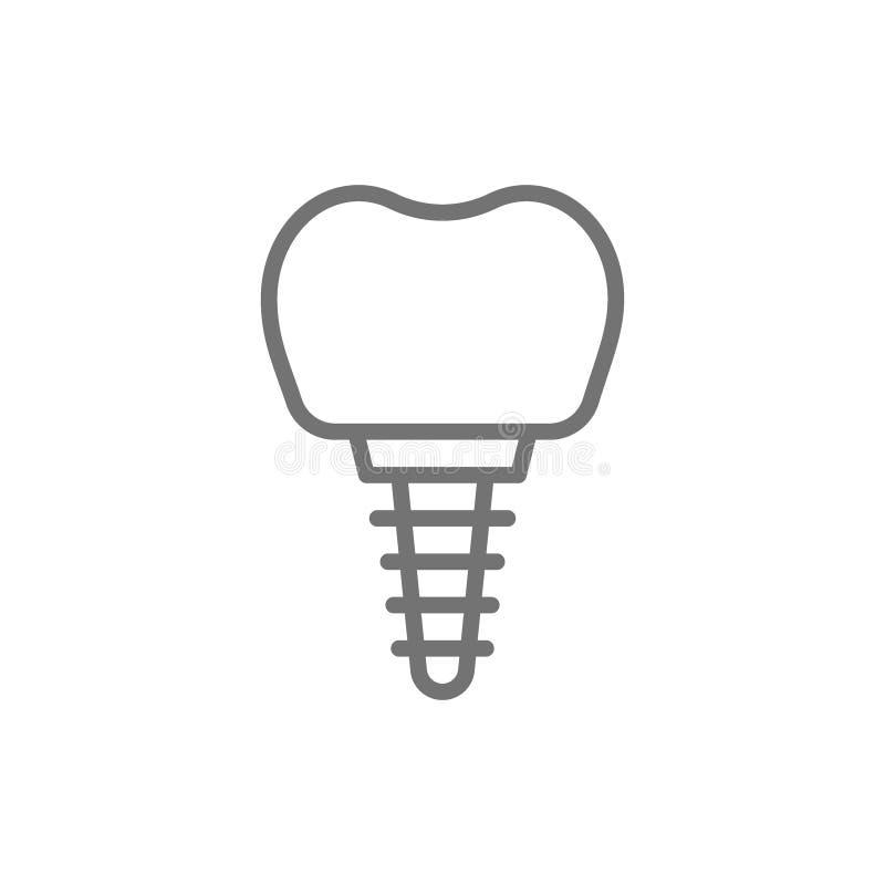Implant dentaire de vecteur, ligne icône de couronne de dent illustration de vecteur