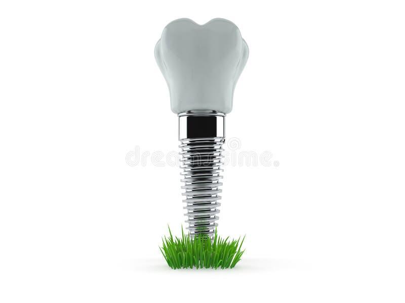 Implant dentaire sur l'herbe illustration de vecteur