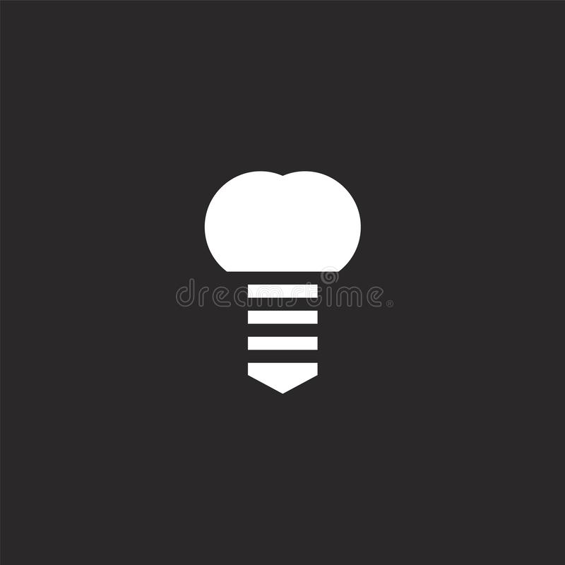 Implant icon. Filled implant icon for website design and mobile, app development. implant icon from filled dental care collection. Isolated on black background royalty free illustration