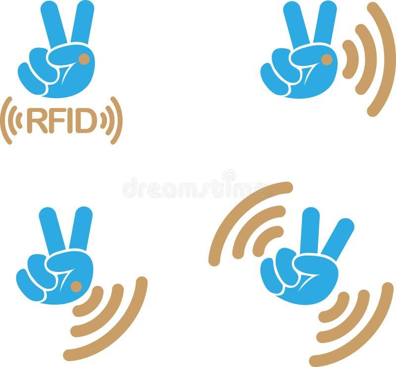 Implantable RFID-etikettssymbol vektor illustrationer