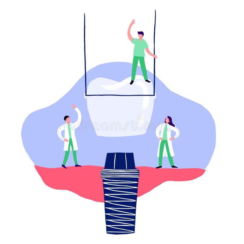 Implantation, illustration de vecteur, soins dentaires de bande dessinée et restauration dentaires de dent illustration stock