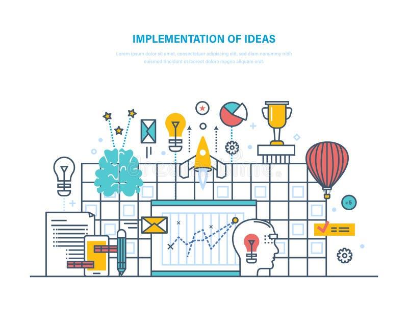 Implementazione di grandi idee Miglioramento delle tecnologie, processi, innovazioni di affari illustrazione di stock