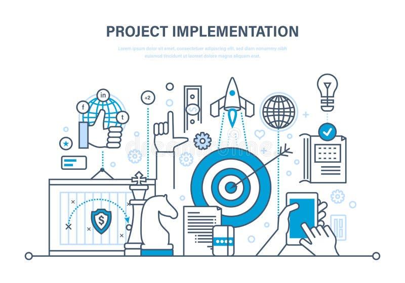 Implementazione di progetto Concetto del progetto, della pianificazione aziendale e della ricerca di mercato royalty illustrazione gratis