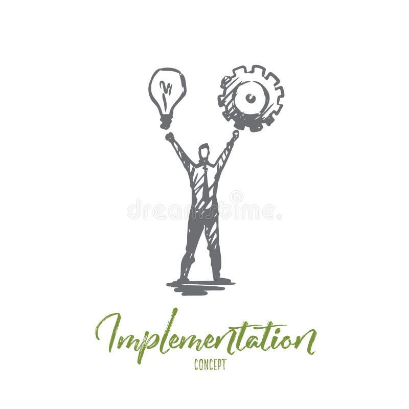 Implementazione, uomo, idea, affare, concetto della ruota dentata Vettore isolato disegnato a mano illustrazione di stock