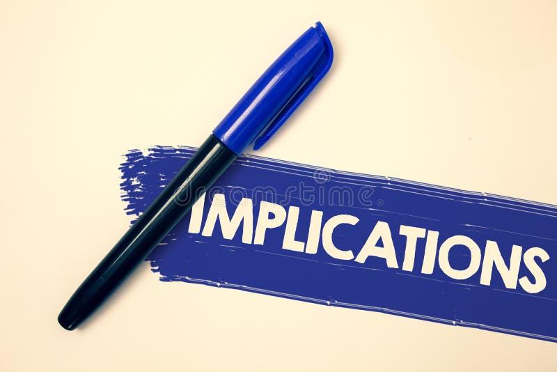 Implications des textes d'écriture de Word Concept d'affaires pour l'état de conclusion d'être messages impliqués d'idées de sign photographie stock libre de droits