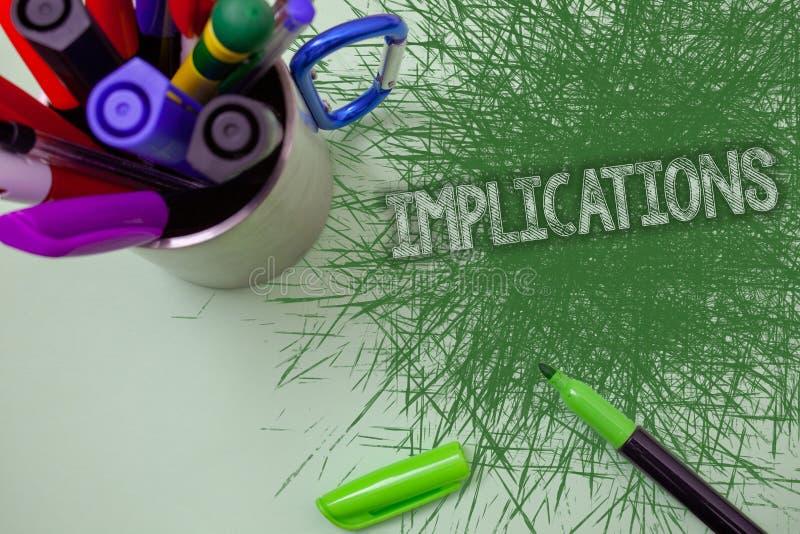 Implications des textes d'écriture de Word Le concept d'affaires pour l'état de conclusion d'être signe impliqué d'insinuation de image stock