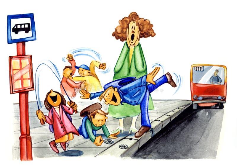 Impolite kids on bus stop