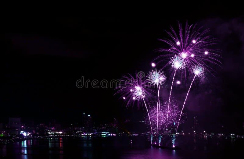 Imponująco żywe purpury barwią fajerwerki bryzga w nocnym niebie nad schronieniem obrazy royalty free