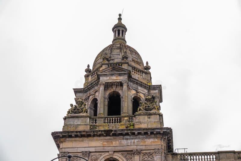 Imponująco architektura patrzeje do jeden Glasgow miasta sale Dryluje Steeples fotografia stock