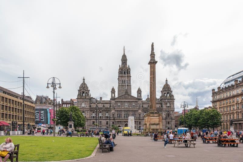 Imponująco architektura Patrzeje nad George kwadratem Glasgow sławny miasto Glasgow rady budynki na ruchliwie dniu wewnątrz obrazy royalty free