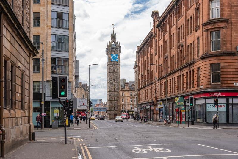Imponująco architektura stara Tollbooth zegaru i Steeple głowna ulica Glasgow obrazy royalty free