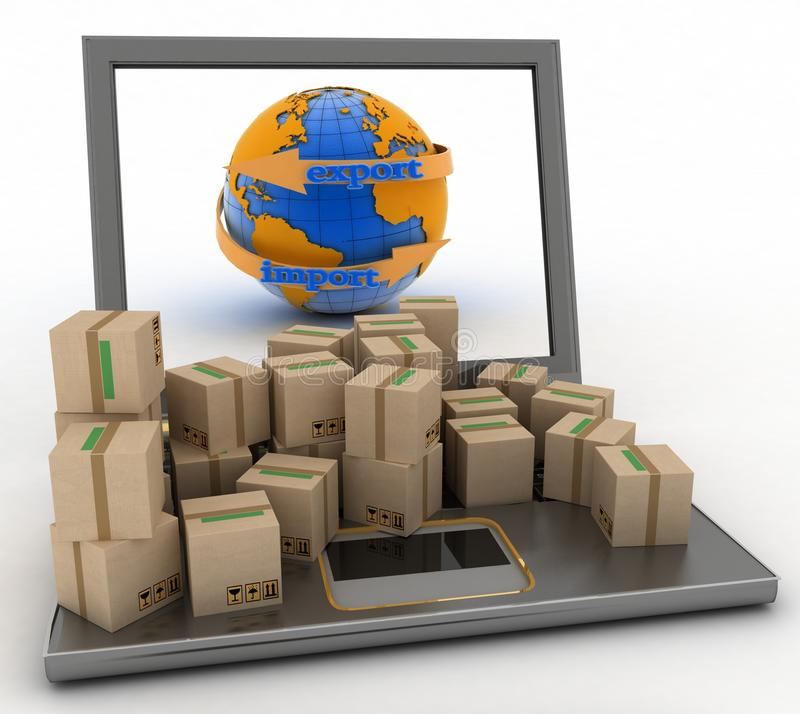 Free Import And Export Arrow Around Earth For Business Stock Photos - 40542863