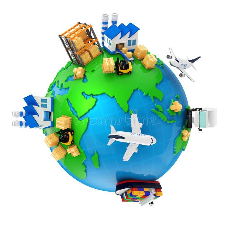 Import, eksport i produkcja ilustracja wektor