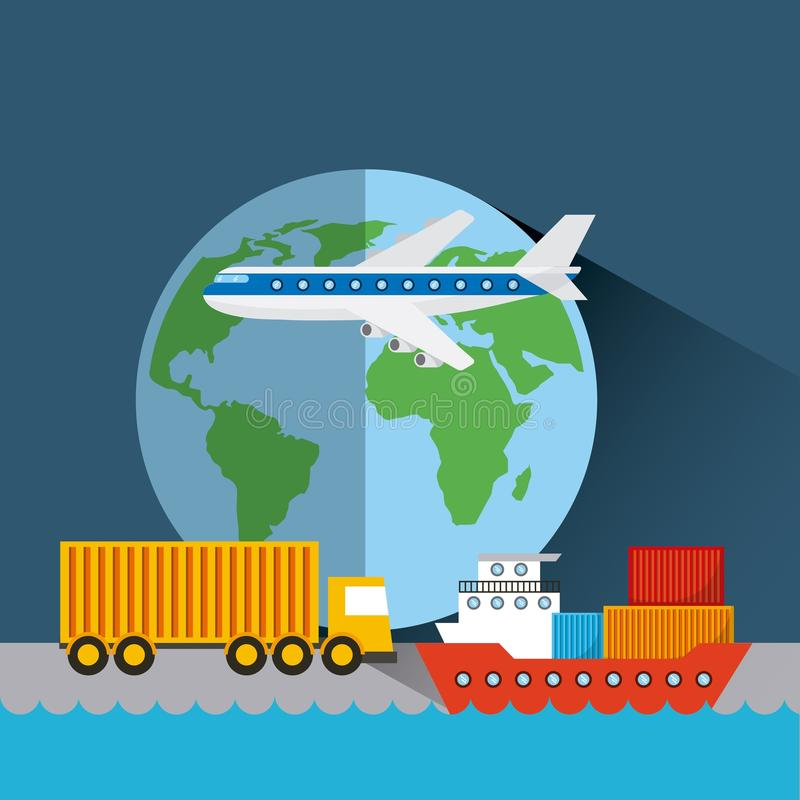 Import and export design. Earth planet with cargo airplane, truck and ship. export and import concept. colorful design. vector illustration royalty free illustration