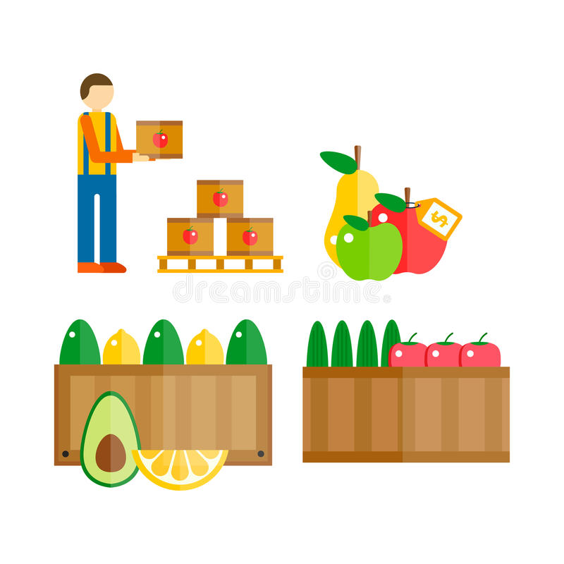 Import export fruits vector illustration. royalty free illustration