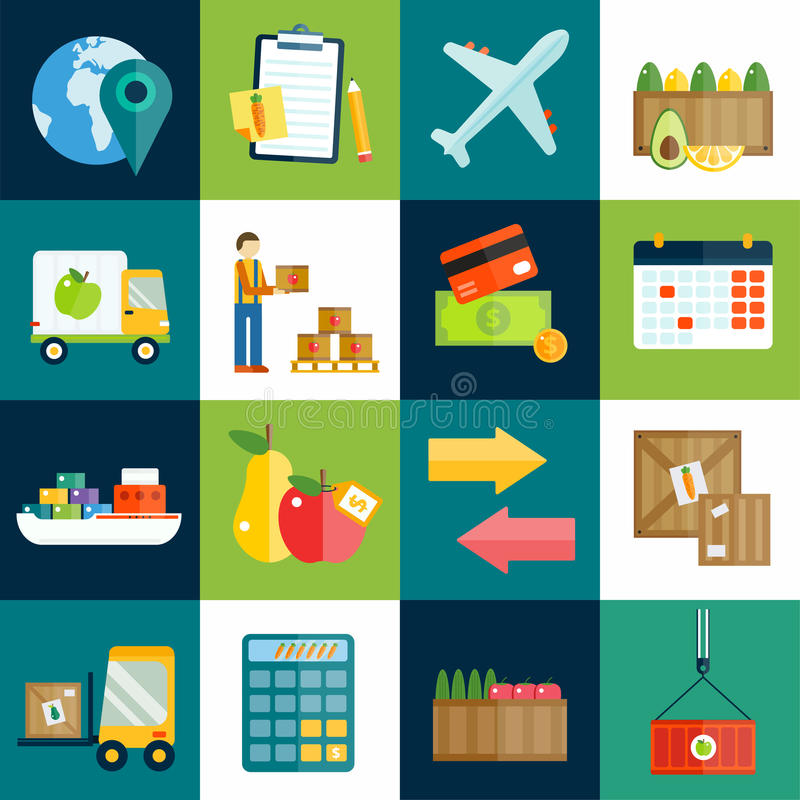 Import export fruits and vegetables delivery stock illustration