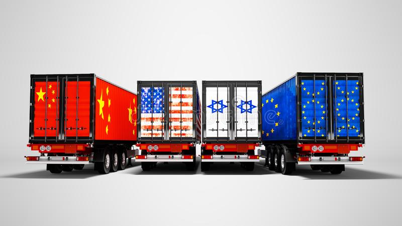 Import and export of goods by containers on trailers of the countries of the world 3d render on gray background with shadow vector illustration
