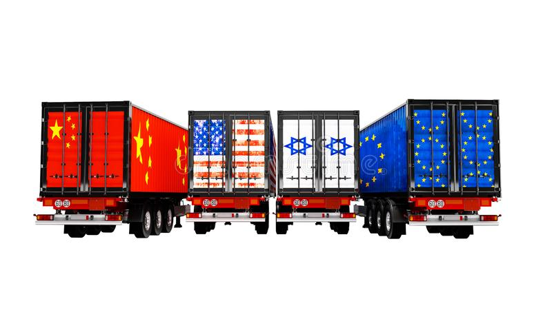 Import and export of goods by containers on trailers of the countries of the world 3d render on white background no shadow stock illustration