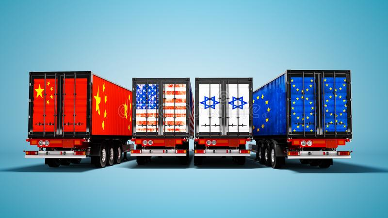 Import and export of goods by containers on trailers of the countries of the world 3d render on blue background with shadow. Import and export of goods by royalty free illustration
