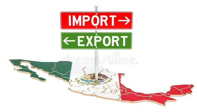 Import and export in Mexico concept, 3D rendering royalty free illustration