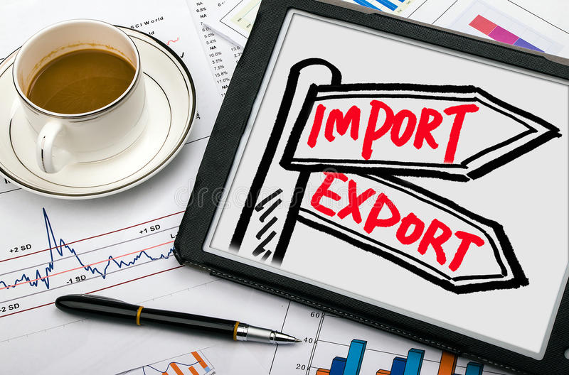 Import and export signpost hand drawing on tablet pc stock photo