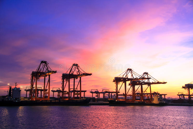 Import and export trade of port transport logistics royalty free stock photos