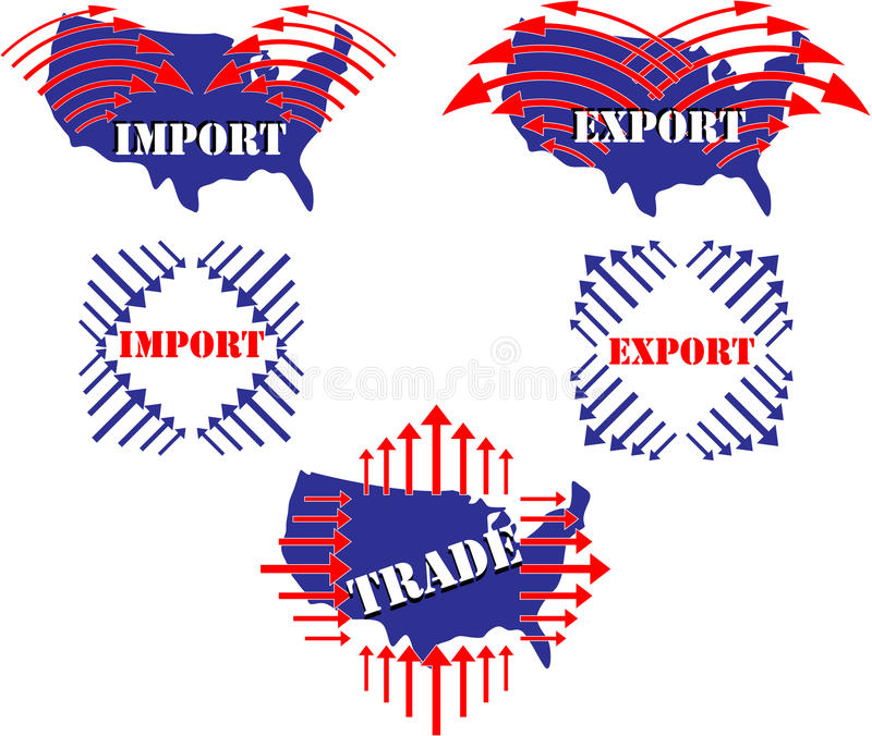 Import, export, trade, United States illustration. Arrows, America, Import, Export, Trade, red, white and blue illustration for buying and selling between royalty free illustration