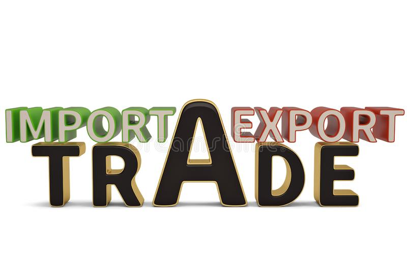 Import export trade words on white background.3D illustration. Import export trade words on white background. 3D illustration royalty free illustration
