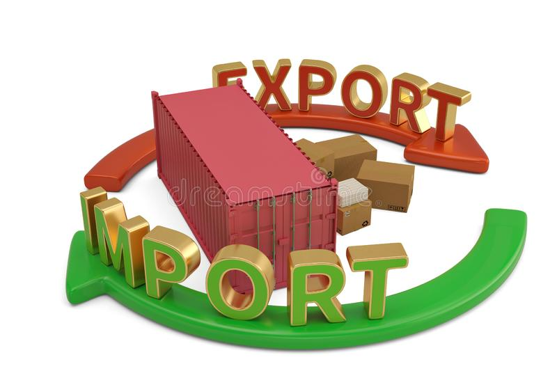 Import export words on arrow and container 3D illustration. Import export words on arrow and container 3D illustration stock illustration