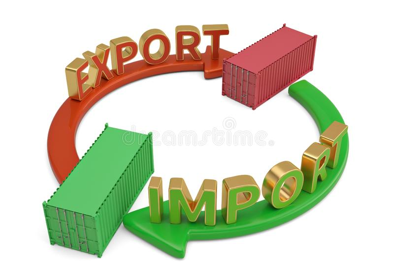 Import export words on arrow and containers 3D illustration. Import export words on arrow and containers 3D illustration royalty free illustration