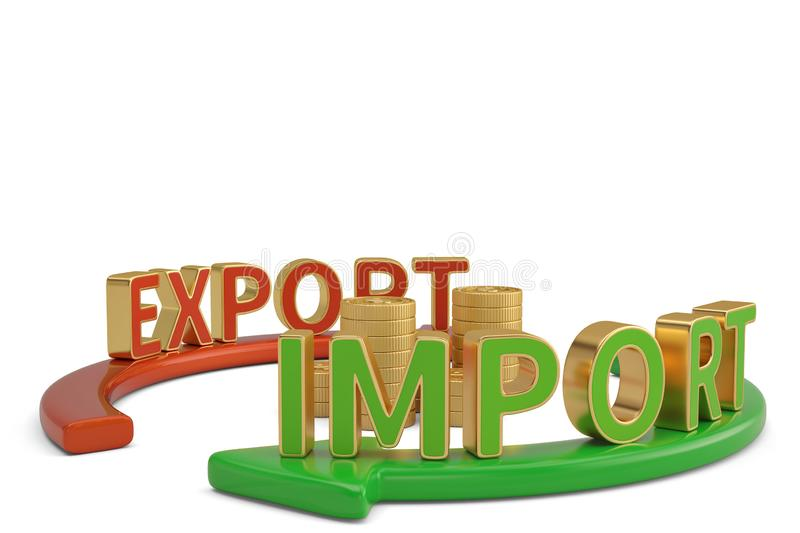 Import export words on arrow and gold coin stacks 3D illustrat. Ion vector illustration