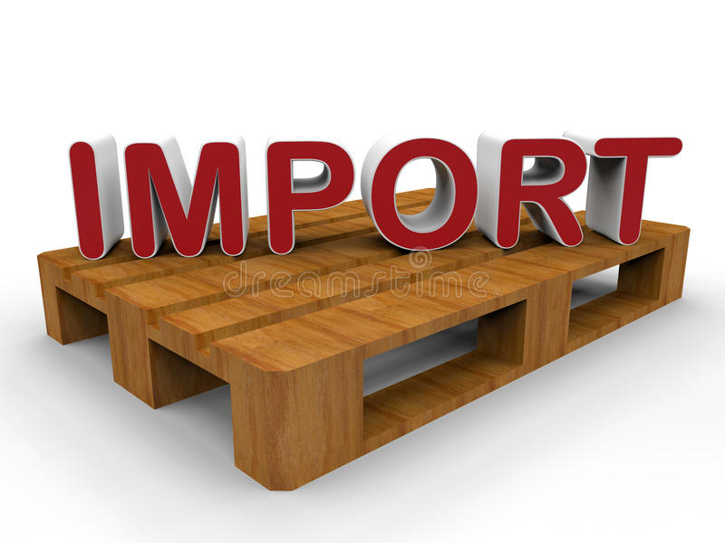 Import good concept. 3D rendered illustration for the concept of importing good. The composition is isolated on a white background with shadows and uses a wood stock illustration