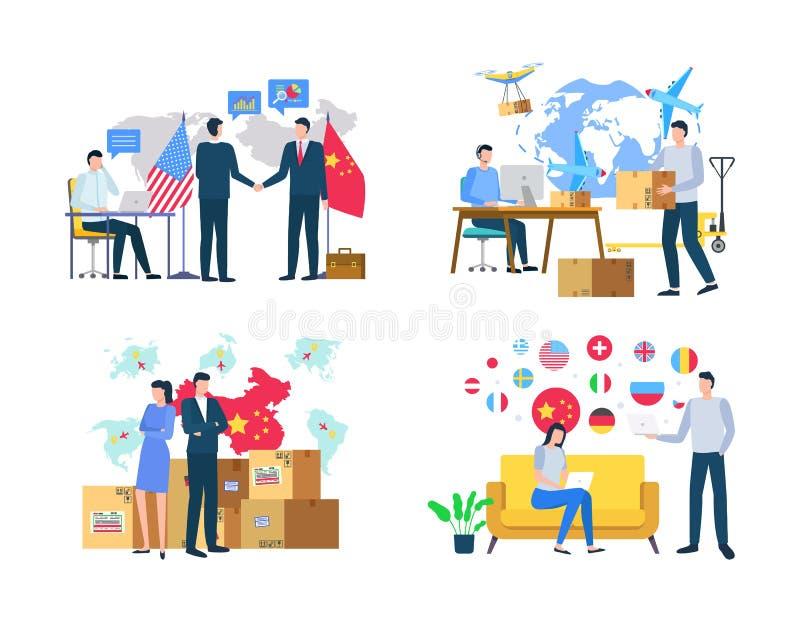 Import lub eksport, dostawa towary, Światowy wektor ilustracja wektor