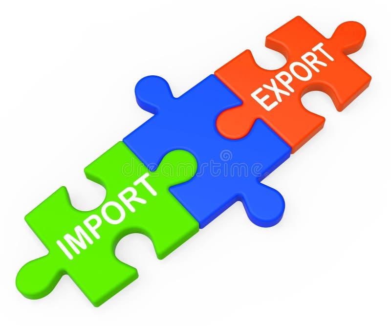 A importação da exportação fecha o comércio internacional das mostras ilustração stock