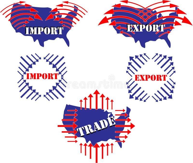 Importação, exportação, comércio, ilustração do Estados Unidos ilustração royalty free